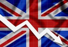 La UE señala la flecha de Gran Bretaña por medio de una bandera abajo, el concepto de fracasos Fotografía de archivo