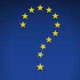 La UE señala por medio de una bandera bajo la forma de signo de interrogación Fotografía de archivo