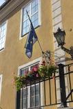 La UE señala por medio de una bandera en casa Foto de archivo