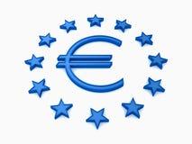 La UE stars alrededor con la muestra euro azul en blanco Fotografía de archivo
