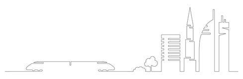 La una línea artística plana tren de la ciudad del vector del diseño y los edificios de la ciudad, rascacielos, árboles forma las