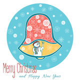 La una Navidad Bell aislada en fondo azul con el muñeco de nieve Imagen de archivo libre de regalías