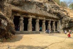 LA UNESCO Templo hindú, cuevas de la isla de Elephanta, cerca de Bombay, Bomba fotografía de archivo libre de regalías
