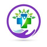 La unión de la asistencia médica de la naturaleza ahorra vector creativo de la muestra del elemento del icono del logotipo del co stock de ilustración