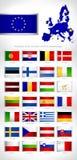 La unión europea indica banderas detalladas Fotografía de archivo libre de regalías