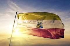 La Union Department of El Salvador flag textile cloth fabric waving on the top sunrise mist fog. Beautiful royalty free stock photography