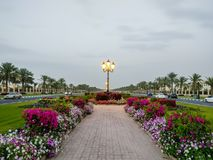 La universidad de los caminos hermosos del campus de Sharja con las decoraciones de la flora, UAE imagen de archivo