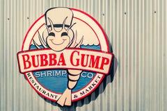 LA, USA - 30th October 2018: The Bubba Gump Shrimp Co sign on Santa Monica Pier, LA royalty free stock images
