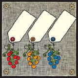 La uva etiqueta el grabar en madera Imagenes de archivo