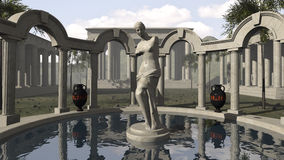 La Vénus de Milo et un temple du grec ancien Images libres de droits