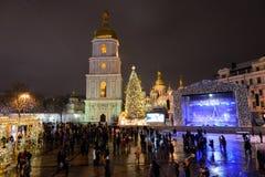 la víspera de 2016 Años Nuevos en Kiev Imagenes de archivo
