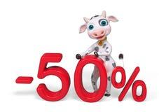 La vaca del personaje de dibujos animados que se coloca detrás del descuento 3d del 50 por ciento ren Foto de archivo libre de regalías