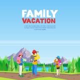 La vacanza di famiglia, facendo un'escursione ed all'aperto mette in mostra l'attività Illustrazione di stile del fumetto di vett illustrazione di stock