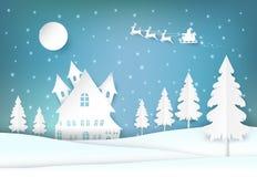La vacanza invernale Santa ed il Natale nevoso condiscono il fondo di carta di arte royalty illustrazione gratis