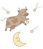 La vache branchée au-dessus de la lune Photo libre de droits