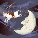 La vache branchée au-dessus de la lune Image libre de droits