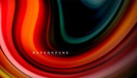 La vague abstraite raye les rayures liquides de couleur de style d'arc-en-ciel sur le fond noir Image stock