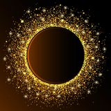La vague d'or de cercle miroite le fond abstrait d'or, scintillement d'or sur un fond de brun foncé, calibre de conception de VIP illustration stock