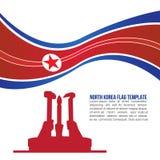 La vague et le Coréen du nord abstraits Workers' de drapeau de la Corée du Nord font la fête le temple de monument Photographie stock