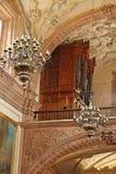 La Valenciana Guanajuato. Detail of the chandeliers inside La Valenciana church in the city of Guanajuato and its organ in mexican colonial heartland Stock Images