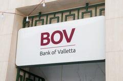 La Valeta, Malta - 9 de mayo de 2017: Logotipo del banco de BOV de La Valeta fotografía de archivo libre de regalías