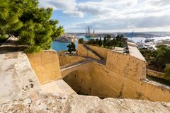 La Valetta capital city Malta. Beautiful sandstone architecture cistyscape of La Valetta capital city of Malta island. Beautiful landscape in south Europe Royalty Free Stock Photos