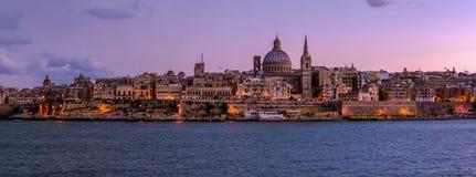 La Valette par nuit, Malte Images libres de droits