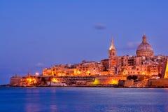 La Valette par nuit, Malte Photo stock