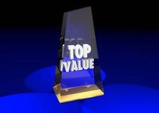 La valeur supérieure a évalué la récompense 3d Illustrat de recommandation d'examen de produit Image libre de droits