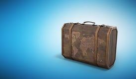 La valise 3d de voyage de vintage rendent sur le fond bleu Photo stock