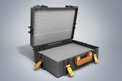 La valise d'outillages ouverte 3d rendent sur le fond gris Images stock