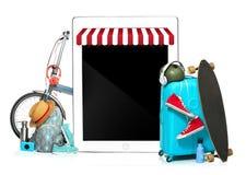 La valise, les espadrilles, l'habillement, le chapeau, et le laotop bleus sur le fond blanc Le voyage, concept de vacances de tou Images libres de droits