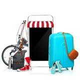 La valise, les espadrilles, l'habillement, le chapeau, et le téléphone bleus sur le fond blanc Photos libres de droits