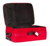La valise, ouverte vident le bagage de voyage, sac rouge de bagages, étiquette Image stock