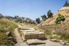 La vallée Cédron et le village de Siloam à Jérusalem, Israël Photo stock