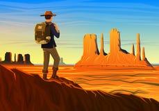 La vallée de montagne et de monument avec le touriste, vue panoramique de matin, aménagent en parc tôt en journée camping de voya Photos libres de droits