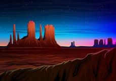La vallée de montagne et de monument, vue panoramique de nuit, crêtes, aménagent en parc tôt en journée voyage ou camping, s'élev illustration stock