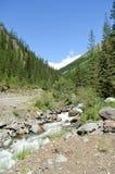 La vallée et l'eau de montagne coulent un jour ensoleillé d'été Photographie stock