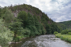 La valle del fiume Jihlava, repubblica Ceca nel giorno di estate Immagine Stock
