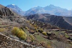 La valle della montagna in autunno Immagini Stock Libere da Diritti