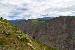 La valle della montagna di Chulyshman da un'altezza del fiume della pioggia dell'estate cade Immagini Stock