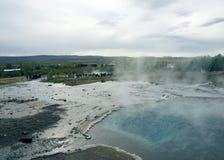 La valle di Haukadalur è un punto di riferimento famoso dell'Islanda immagini stock libere da diritti