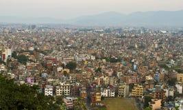 La valle di Kathmandu nebbiosa, Nepal Fotografia Stock