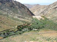 La valle di Vega de Rio Palmas su Fuerteventura Fotografia Stock Libera da Diritti