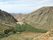 La valle di Vega de Rio Palmas su Fuerteventura Fotografia Stock