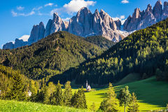 La valle Val di Funes Fotografie Stock