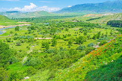 La valle verde nella regione di Samtskhe-Javakheti Immagini Stock Libere da Diritti