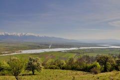 La valle vista del fiume di Olt di bella Fotografie Stock Libere da Diritti
