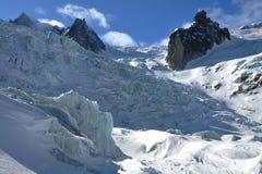 La Vallee Blanche Glacier Lizenzfreie Stockfotos