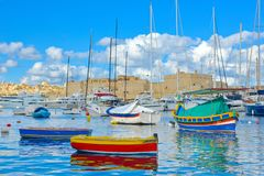 Valletta Beautiful Marina, Malta Landmarks, Travel Europe. La Valletta, capital of Malta has beautiful buildings and a lot of churchs, in the old town area Royalty Free Stock Photo